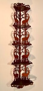 """INCREDIBLE 53"""" STAG CUT-OUT CORNER SHELF IN EXCEPTIONAL ORIGINAL CONDITION!"""