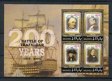 Maldives 2005 MNH Battle of Trafalgar 200th 4v M/S Nelson Napoleon Ships Stamps