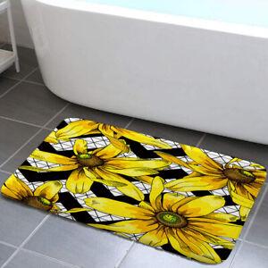 Yellow petals and mosaic Shower Curtain Toilet Cover Rug Mat Contour Rug Set