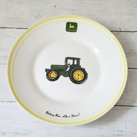 """John Deere Bowl Plate by Gibson Ivory Yellow Green Tractor 9"""" Salad Soup Decor"""