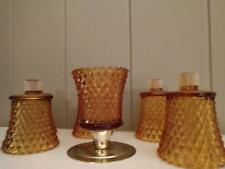 Home Interiors Homco Gold Amber Diamond Votive Cup with Grommets - Set of Six