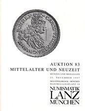 LANZ vente aux enchères 83 catalogue 1997 époque moderne moyen âge Habsburg protéger PRIX ~