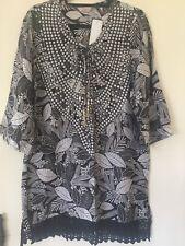 Size 8 Black & White Tropical Print Kaftan Tunic 3/4 Slves NWTGS