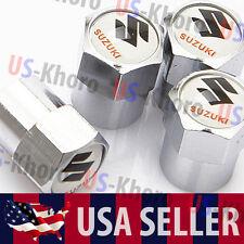 Suzuki Logo Valves Stems Caps Covers Chromed Metal Tire Car Wheel Emblem 3 USA