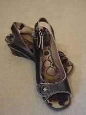 Fly London Negro Cuero Peep Toe Slingback zapatos UK 5/38