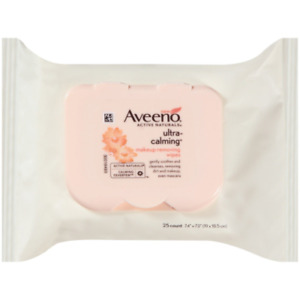 New Aveeno Ultra-Calming Cleansing Makeup Removing Wipes, 25 Count