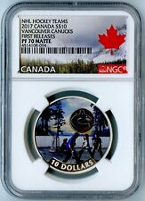 2017 CANADA NGC FIRST RELEASES PF70 MATTE VANCOUVER CANUCKS S$10! AWESOME COIN