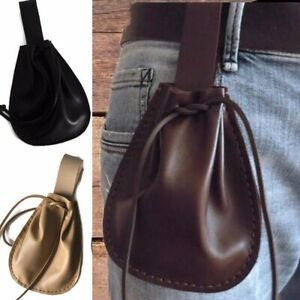 Cosplay Renaissance Pirate Bay Larp Props Leather Purse Medieval Drawstring Pack
