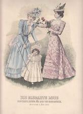 Lithographie Couleur La Élégant Mode 1899 de Vêtements Impression Vintage (15