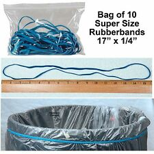 "Large Rubber Bands, Long Rubber Bands, 17"" x 1/4"", Blue, Pack of 10"