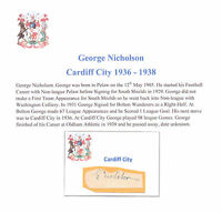 GEORGE NICHOLSON CARDIFF CITY 1936-1938 VERY RARE ORIG HAND SIGNED CUTTING/CARD