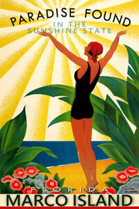 Marco Island Florida Collier County New Travel Poster Art Deco Broders Print 314