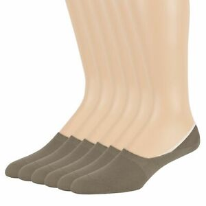 Men's Bamboo Socks 6 Pack Antifungal No Show Invisible Comfort Medium 9-11 Beige