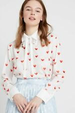 BNWT - SISTER JANE - RED HEART OFF WHITE BLOUSE SHIRT VALENTINES - SIZE M