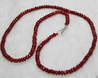 2x4mm Brazil Red Ruby Faceted Roundel Gems Beads Necklace Silver Clasp JN16