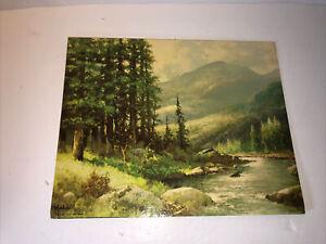 "Vintage Robert Wood Mountain Stream Landscape Textured Lithograph Print 8 x 10"""
