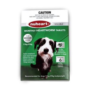 NUHEART Green Meat Flavoured Heartworm Tablets for Medium Dogs X6 24 - 50 Lbs