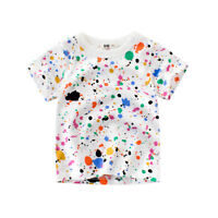 Colorful Boys T-Shirts Kid Baby Girl Children Short Sleeve Tops Cotton Clothes