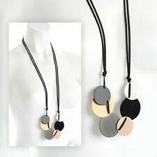 Five Tone Black Cord Long Disc Design Lagenlook Necklace Fashion Jewellery
