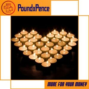 PACK OF 24X WHITE TEA LIGHTS UNSCENTED 6 HOUR LONG BURN TIME NIGHT LIGHT CANDLES