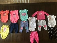 Baby Girl New Born Clothes Lot Bodysuit Short Sleeve And Pants 12 Pieces