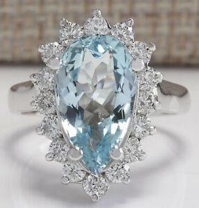 4.54 Carat Natural Aquamarine 14K White Gold Diamond Ring