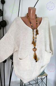 EG 44 46 48 50 BASIC Oversize LONG Pullover mit Taschen HELLBEIGE 80%Baumw.NEU