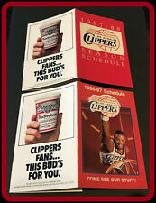 LOT OF 2 DIFFERENT LOS ANGELES CLIPPER BUDWEISER BASKETBALL POCKET SCHEDULES