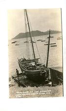 Vintage Rppc Postcard Balboa Yacht Club Canal Zone Repairing a Chinese Junk