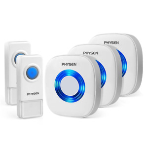 PHYSEN Wireless Doorbell, 2 Waterproof Push Buttons, 3 plug in Receivers -2 Pin