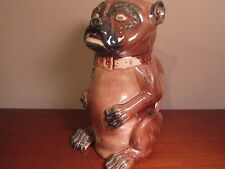 Antique Majolica Figural Pug Dog Pitcher 10.75 Inches c1800's