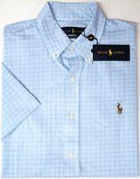 NEW $89 Polo Ralph Lauren Mens Short Sleeve Shirt Knit Oxford Light Blue Plaid
