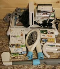 Nintendo Wii White Console Bundle + 9 Game LOT - Fit Sports Accessories More +