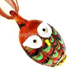 Brown Owl Handmade Lampwork Murano Glass Animal Bead Pendant Ribbon Necklace