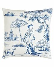 GEISHA GIRL Toile Blue Pillow Oriental Pattern: Hampstead by CF Enterprises
