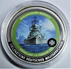 2.WK 1939 MEDAILLE Deutsche Militärtechnik Schlachtschiff Bismarck, PP, Kap & Zf
