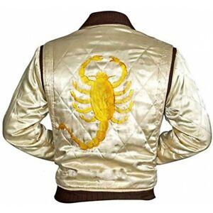 Satin White Scorpion Bomber Jacket