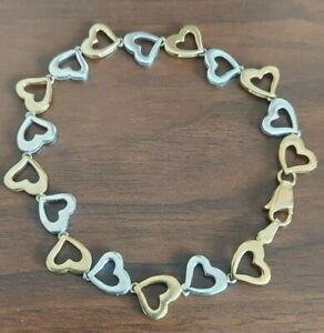 "Lovely 9ct Yellow & White Gold Heart Link Bracelet Hallmarked 7.5"""