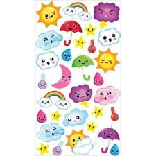 Scrapbooking Stickers Sticko Weather Icons Faces Blowing Wind Raind Drops Clouds