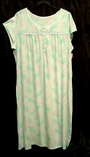 CROFT & BARROW LONG SOFT COTTON BLEND STRETCH KNIT SMOCKED GOWN NIGHTGOWN~2X~NEW
