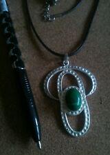 Modernist Malachite 925 silver pendant.Adjustable cord.UK SELLER.NEW