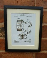 USA Patent Drawing vintage COLLAPSIBLE DRUM music tool MOUNTED PRINT 1937 Gift