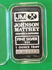 JM Johnson Matthey Collectible Bar 1 Troy Oz .999 Fine Silver USA Serial #615098