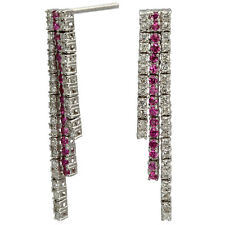 Pink Sapphire And Diamond Classic Dangling Earrings