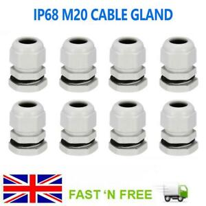 White M20 Cable Gland 20mm Waterproof IP68 Compression Stuffing Locknut Washer