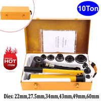 10 Ton Hydraulic Knockout Punch Hand Pump Hole Tool Driver Kit w/6 Dies 22-60mm