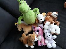 Stofftiere Konvolut 8x Stück: Drache, Haustiere: Katzen, Hunde; Pferd, ...