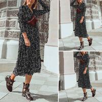 Womens Printed Floral Vintage Shirt Dress V-neck Fashion Loose Ruffle Midi Dress