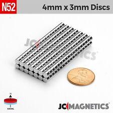 "4mm x 3mm 5/32""x1/8"" N52 Strong Rare Earth Neodymium Magnet Disc 25 100 500pcs"