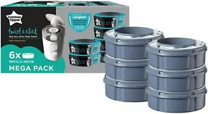 TOMMEE TIPPEE Twist and Click Nappy Disposal System Refill Cassettes (6 Pack)
